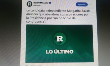 Renuncia Margarita Zavala a la candidatura a la Presidencia de la República