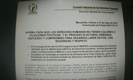 La CNDH afirma que los derechos humanos no tienen colores o filiaciones políticas