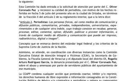 ATIENDE CEAPP DENUNCIA DE OLIVER CORONADO PAZ, EN VERACRUZ