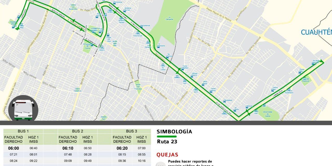 Anuncia Secretaría de Movilidad ruta a  clínica del IMSS en Villa de Álvarez; Iniciará en el campus norte de la U. de Colima