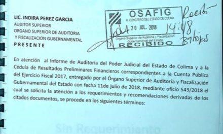Dice el STJE, que sí solventó las observaciones que le hizo OSAFIG de su cuenta pública 2017