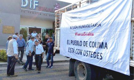 Arriban a Sinaloa los víveres donados por colimenses