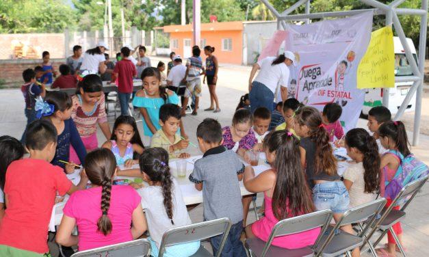 DIF Estatal atiende a menores de Las Conchas con el Programa Juega y Aprende