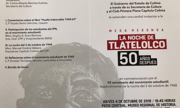 Capítulo Colima del Club Primera Plana realizará mesa redonda sobre la lucha estudiantil del 68