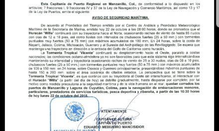 """LA SECRETARÍA DE MARINA – ARMADA DE MÉXICO ACTIVA PLAN MARINA EN SU FASE DE PREVENCIÓN EN EL PACÍFICO MEXICANO POR EL HURACÁN """"WILLA"""