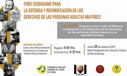 Invitan a participar en el Foro Para la Defensa de Adultos Mayores