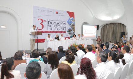 Inaugura Gobernador Congreso  Internacional de Donación Sanguínea