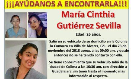 Reportan la desaparición de la joven María Cinthia Gutiérrez Sevilla, en la ciudad de Colima