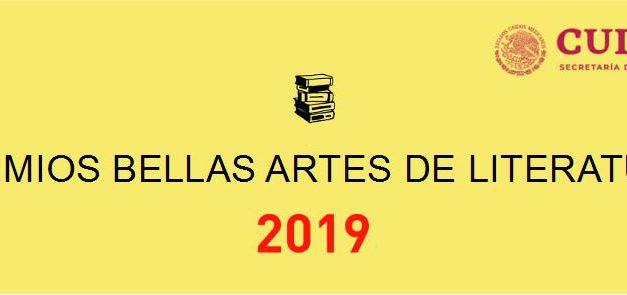 Anuncian Premios Bellas Artes de Literatura 2019