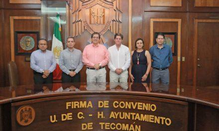 Firman convenio de colaboración UdeC y Ayuntamiento de Tecomán