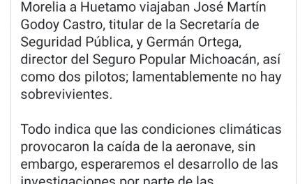 Lamenta Gobierno de Michoacán la pérdida de 4 servidores públicos