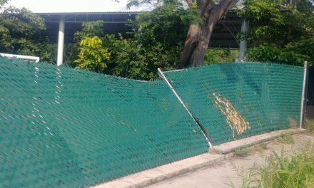 Caído cerco perimetral de la escuela Francisco Palacios, de Arboledas del Carmen