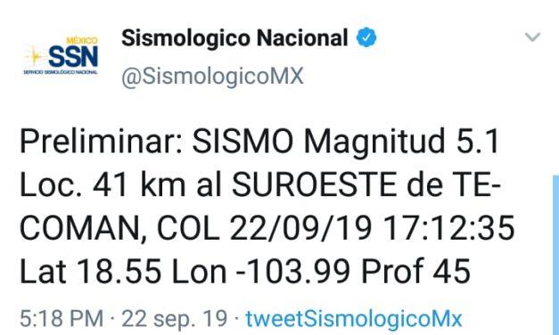 Se registra sismo con epicentro en Armería; no hay afectaciones: Protección Civil
