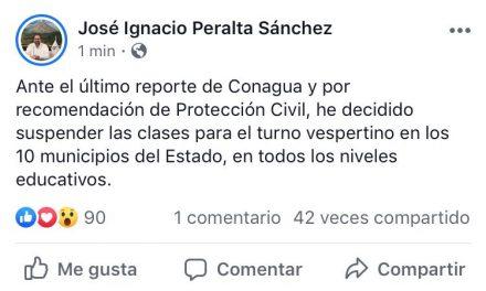 Anuncia Gobernador suspensión de las clases del turno Vespertino en todo el estado, este jueves
