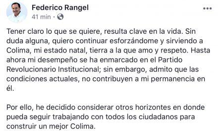 No hay condiciones para mantener mi permanencia en el PRI: Federico Rangel