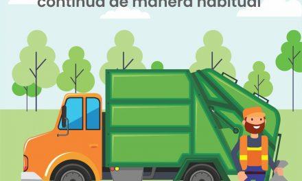 Servicio de recolección de basura en la capital, se llevará a cabo de manera habitual este lunes