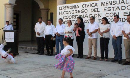 Reanuda el Congreso del Estado las ceremonias cívicas mensuales; fue en Coquimatlán