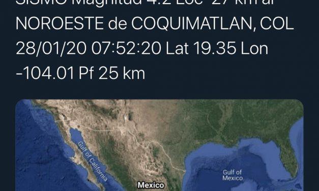 Se registro un temblor de 4.2 grados con epicentro en Coquimatlán