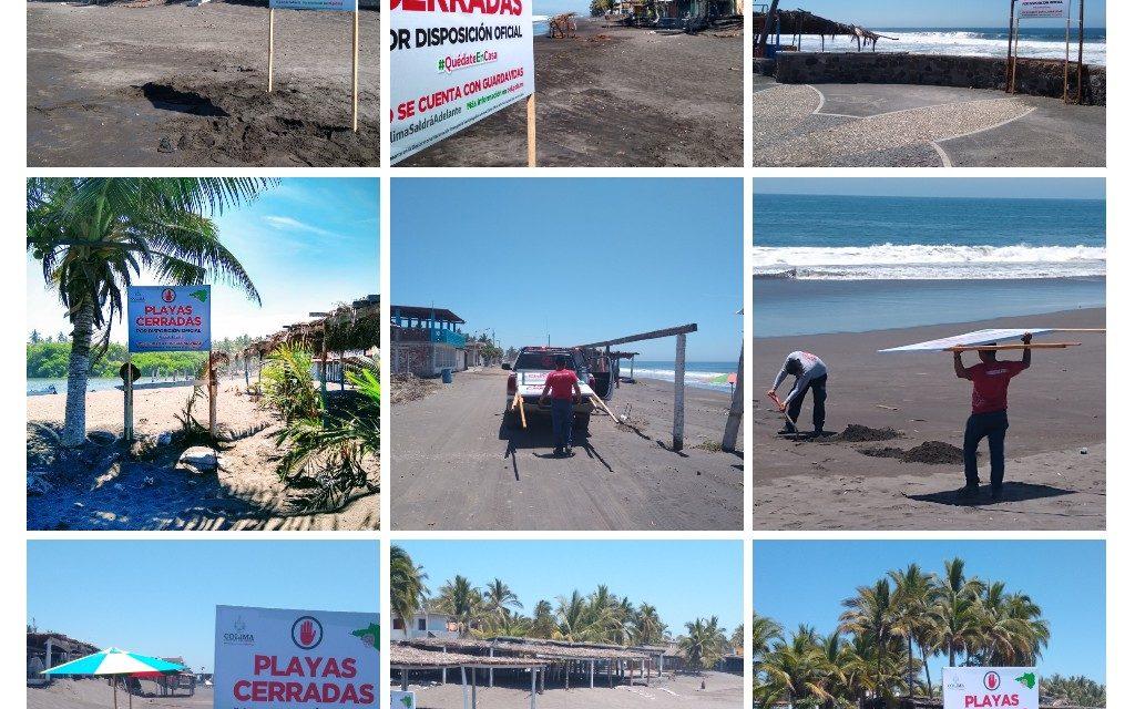 Colocan anuncios en playas para recordar que están cerradas por contingencia