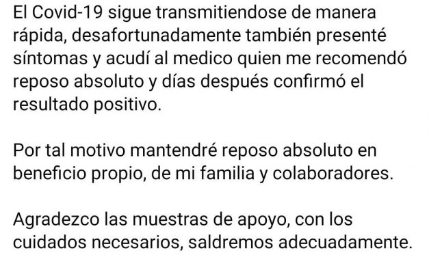 Confirma diputado Rogelio Salinas, estar contagiado por el Coronavirus