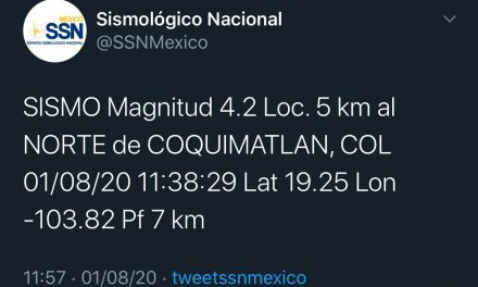 Tembló en Colima; epicentro en Coquimatlán; fue de 4.2 grados