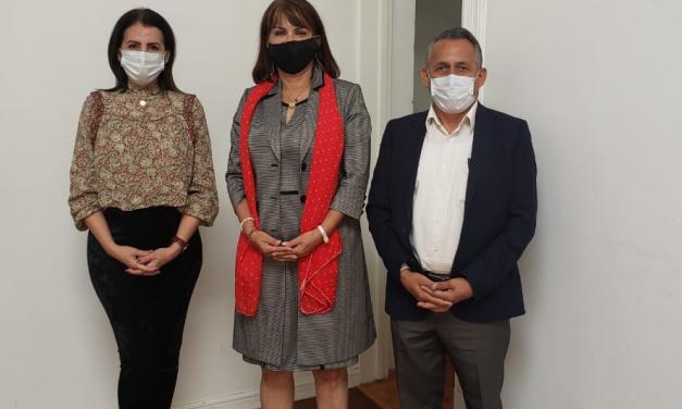 Claudia Yáñez Centeno y dos senadores entregan a Mario Delgado sus preocupaciones por los retos el proceso electoral