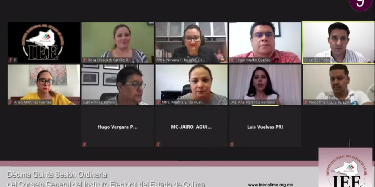 IEE Colima aprueba Difusores Oficiales del PREP y sustitución de candidaturas del Proceso Local
