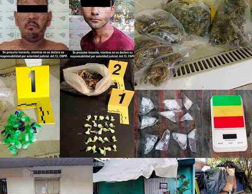 Tras la ejecución de cateos en los municipios de Tecomán y Manzanillo, Fiscalía incauta droga y detiene a dos