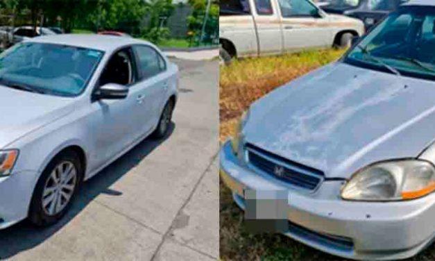 Se recuperan vehículos Honda y Volkswagen, tenían reporte de robo